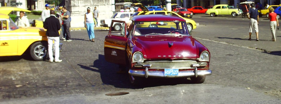 A nice purple classic American car in Havana, Cuba