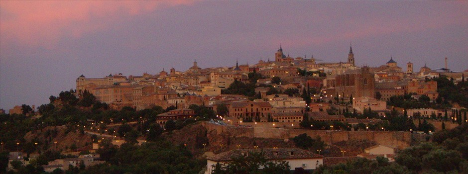 Pink sky and sunset over the old city of Toledo, Spain